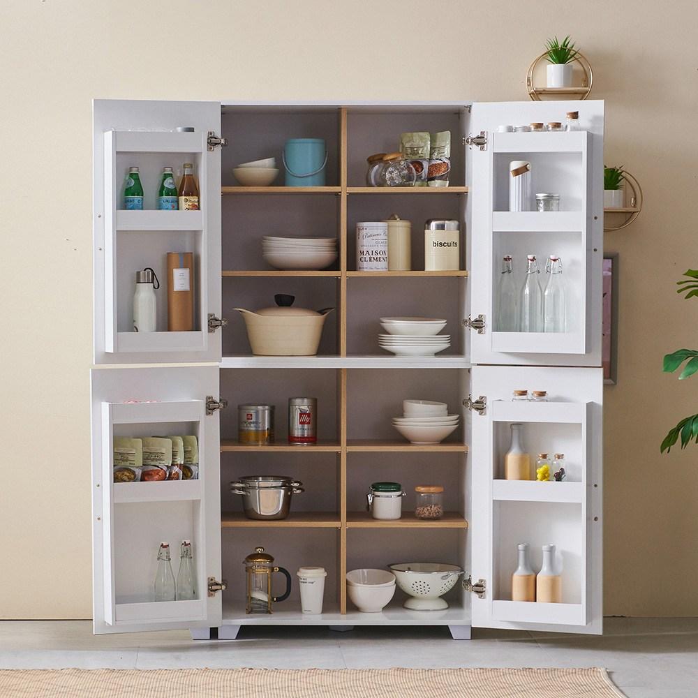 수키 800 주방 냉장고형 팬트리 그릇장 상부장 선반장 장식장 키큰장 부엌 수납장, 화이트+화이트
