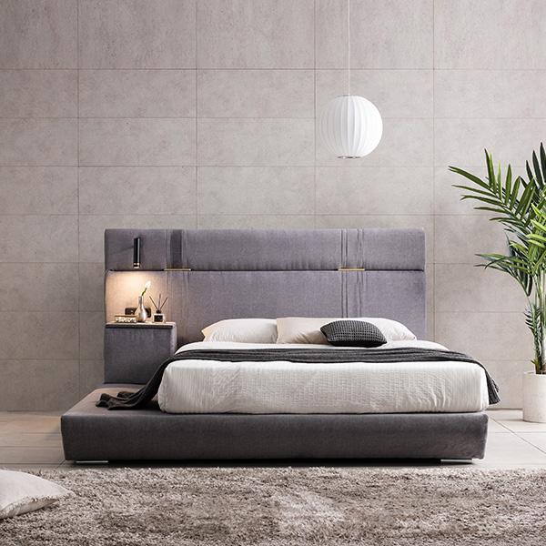 배스트 퀸-라지킹 평상형 패브릭 LED 침대 프레임 dr5189, 그레이