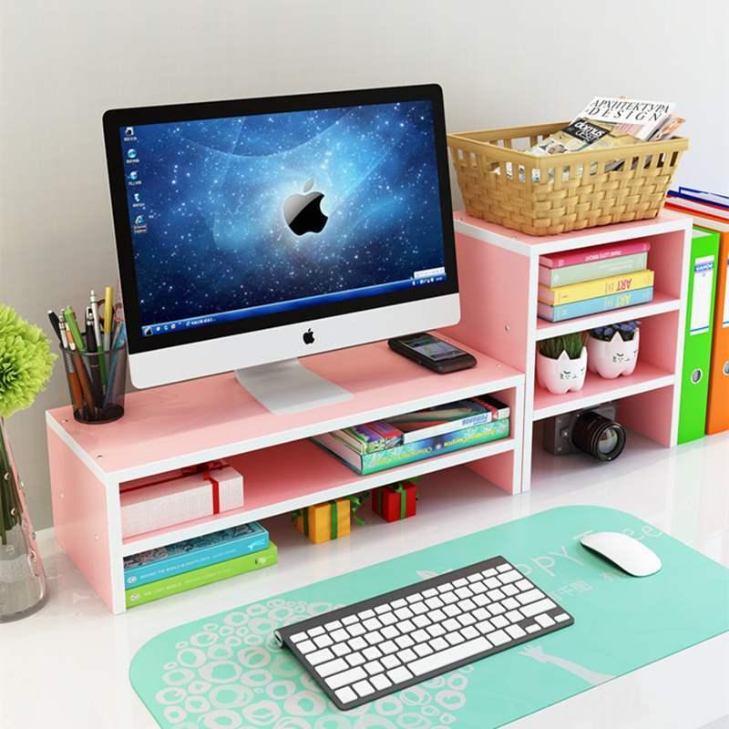 모니터받침대 모니터 거치대 핑크 테이블식 더블층 높이올리는 받침대 우드거치대, T24-핑크