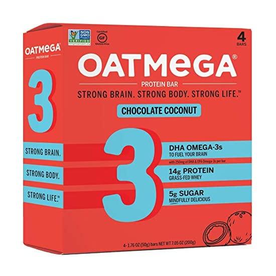 Oatmega 오트메가 프로틴 바 초콜릿 코코넛 오메가 3 및 목초 유청 프로틴로 만든 건강한 스낵 글루텐 프리 1.8Oz 4 개, 1개, 1개