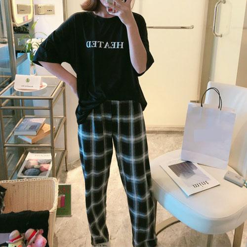 스피소 여성 오버핏 파자마 상하의 반팔 긴바지 홈웨어 잠옷 세트 빅사이즈
