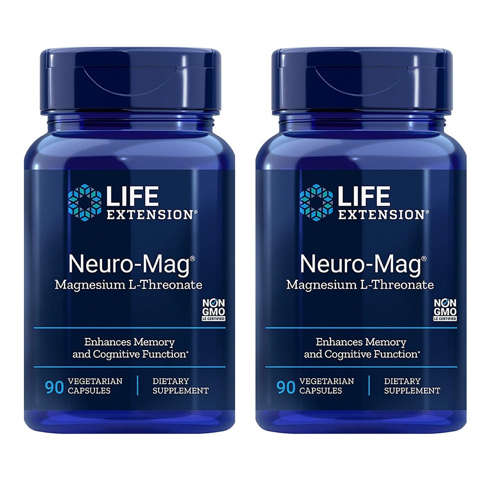 Life Extension 라이프 익스텐션 뉴로 매그 마그네슘 90캡슐 2팩, 2개