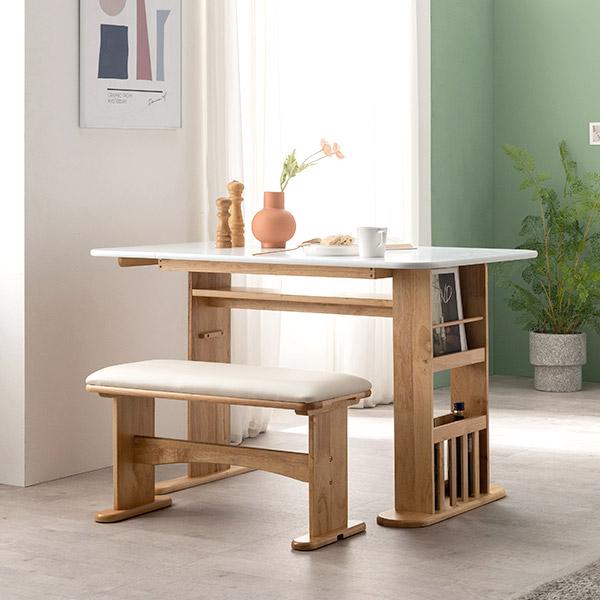 [삼익가구]에디션 트랜스폼 확장형 식탁 테이블(벤치1개포함), 화이트