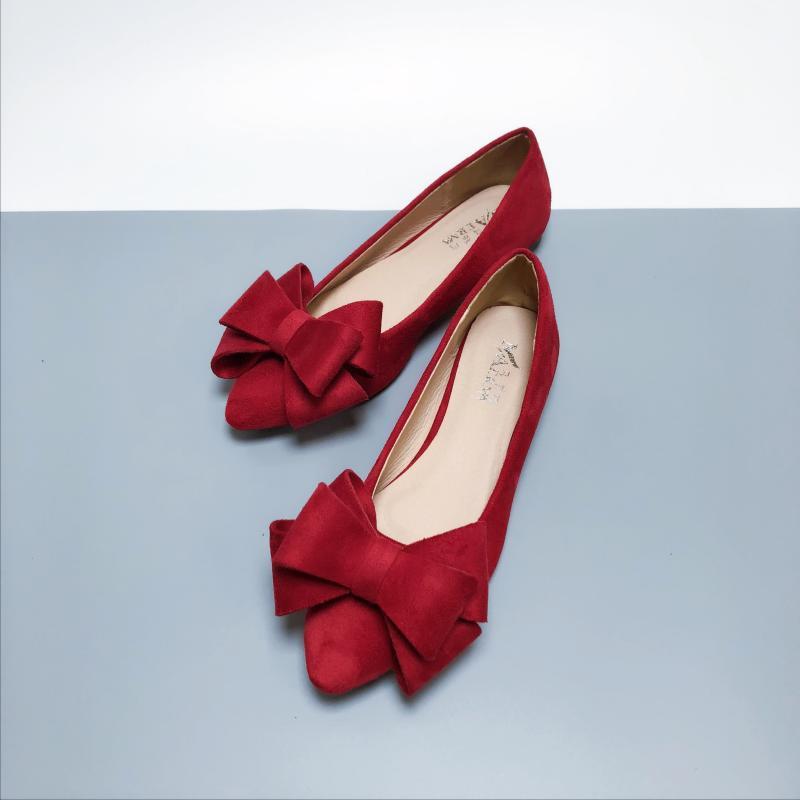 쇼핑하자 신발 여자 스웨이드 왕리본 포인트 낮은 굽 플랫 슈즈 신발AB23 524301129321