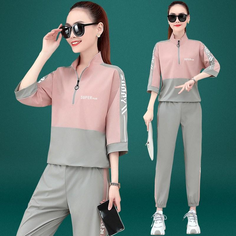 트레이닝복세트 361운동복 여성여름옷 짧은소매 러닝 얇은타입 투피스 오버사이즈 여름 조단 츄리닝