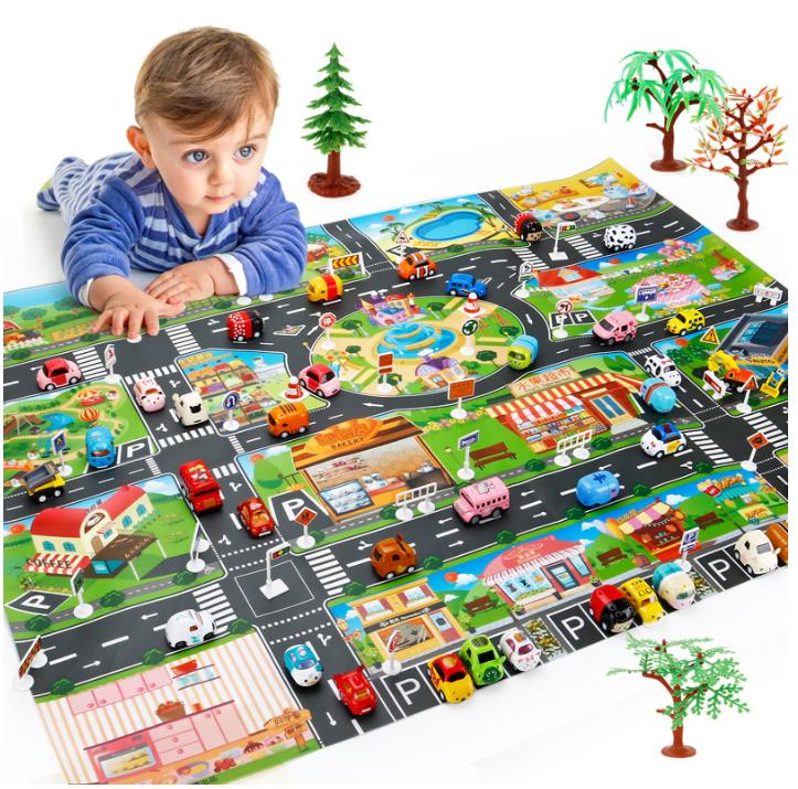 대형 자동차 도로 놀이 매트 자동차 8대 표지판 18pcs 세트 두돌아기장난감 집콕놀이, 옵션1 기존매트 초록색