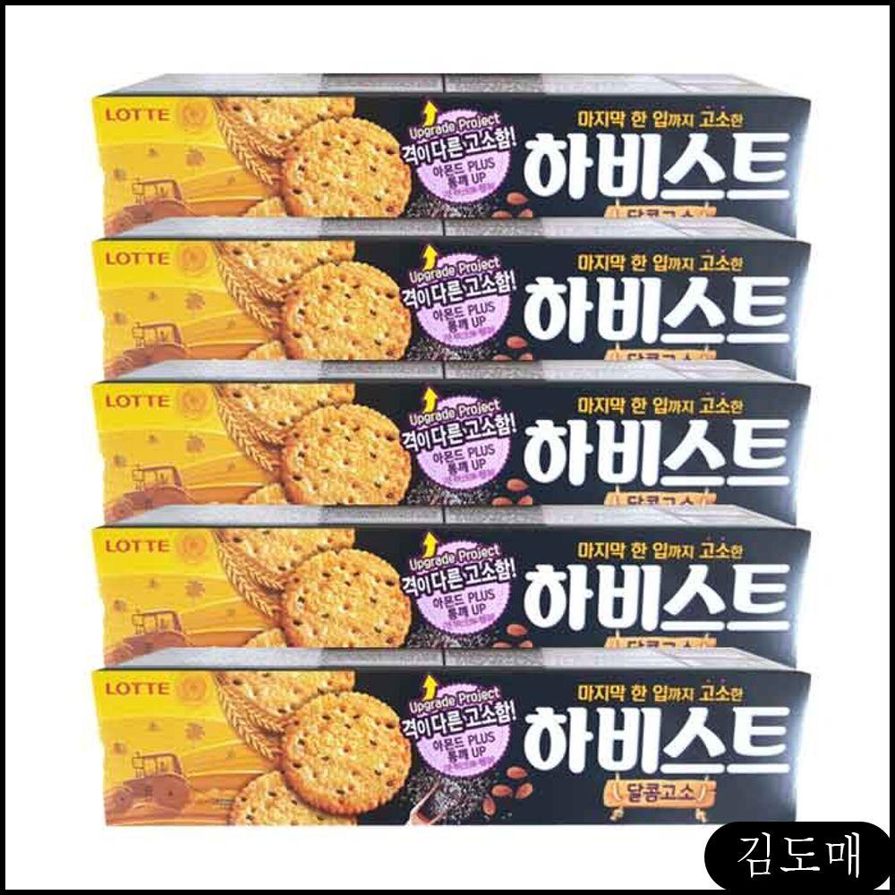 KDM 봉지과자 하비스트 달콤고소 x 5개 롯데 스낵 신상과자, KDM 1