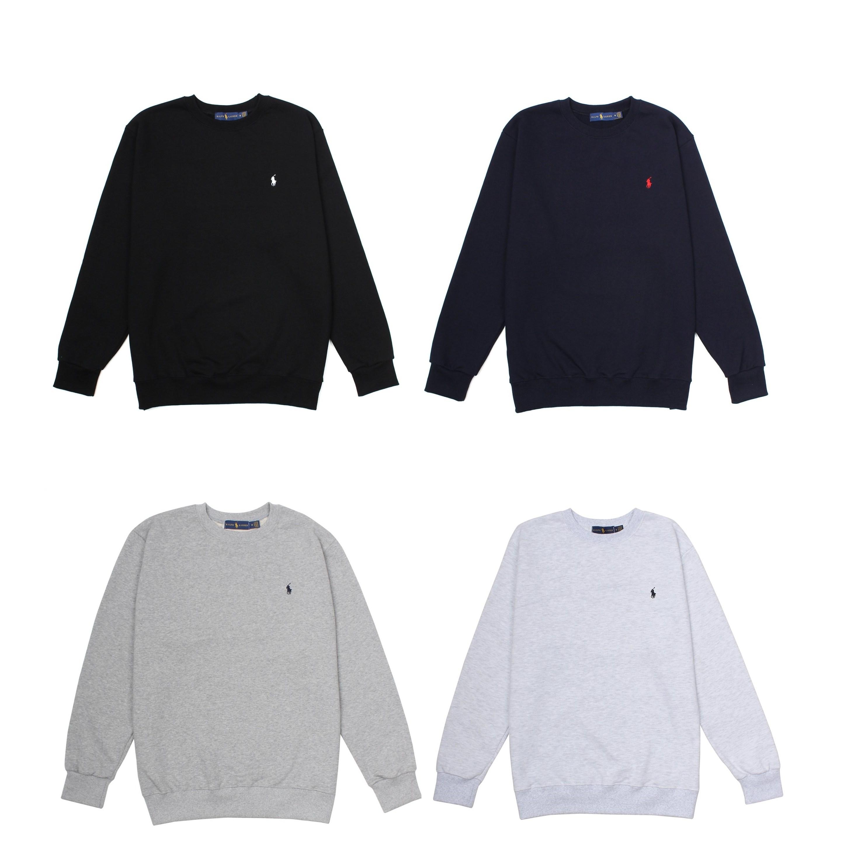 남녀공용 폴로 자수 로고 맨투맨 티셔츠 (4color)