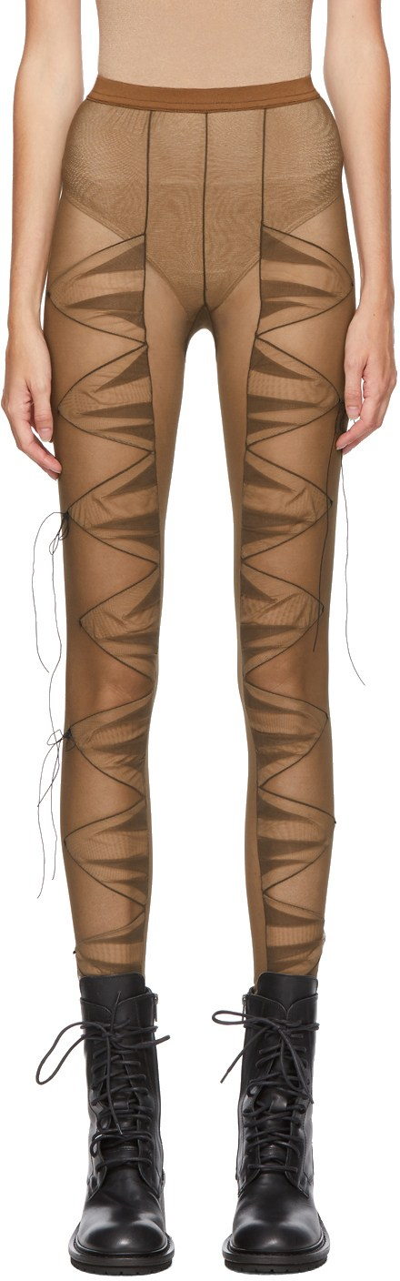 SSENSE Exclusive Brown Pleated Panelled Tights-SC5832511