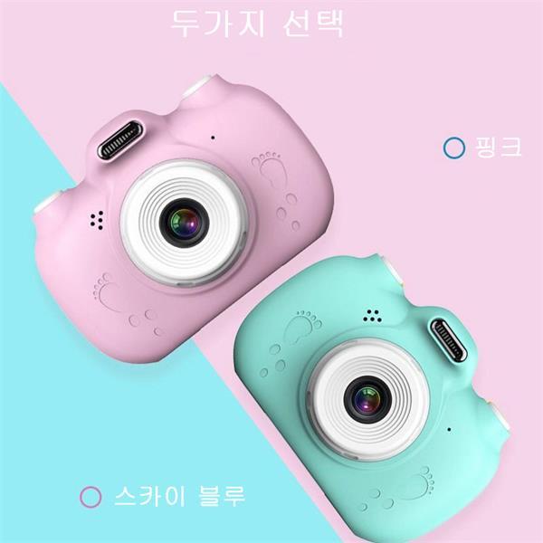 디지털 2500만 화소 고양이발 어린이 선물 미니 카메라H0004, 32G핑크