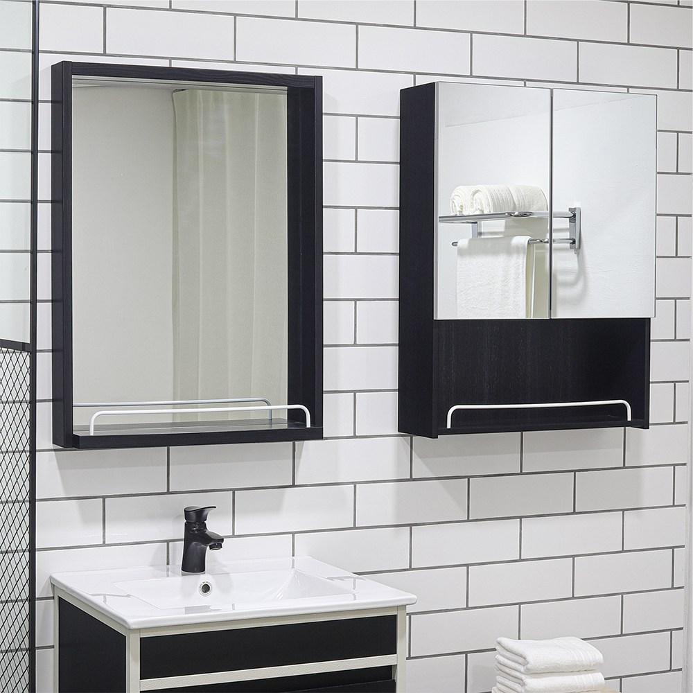 모카 누드 오픈 욕실 수납장(600X800), 블랙, 1개