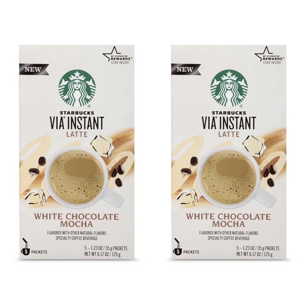 스타벅스 Starbucks Via Instant Coffee White Chocolate Mocha 비아 인스턴트커피 화이트 초콜릿 175g 2팩, 1세트, 1ml