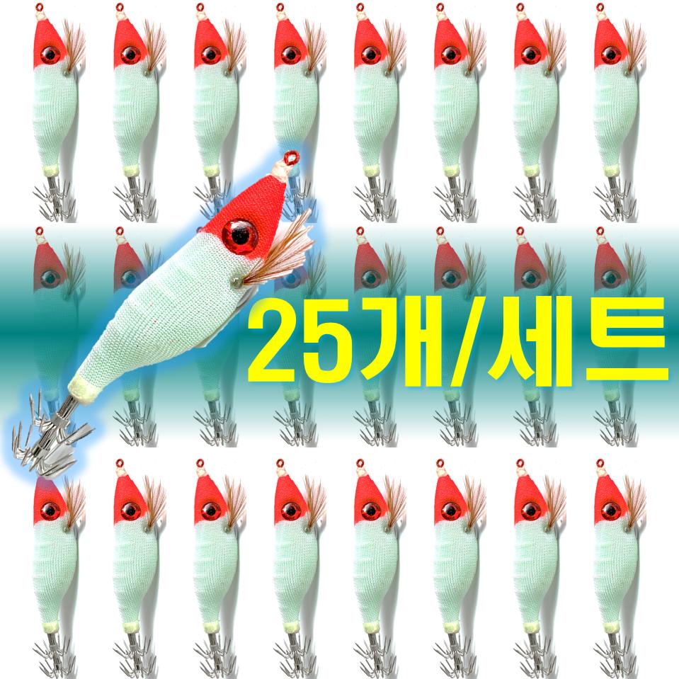 예피싱 25개입 왕눈이 에기 세트 쭈꾸미 갑오징어 문어채비 야광애기, YF16