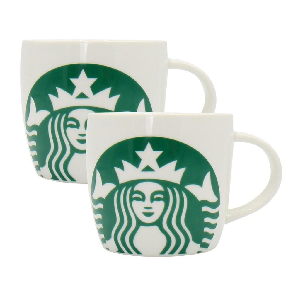 스타벅스 아이코닉 화이트그린 머그컵 2개, 1개, 아이코닉 머그컵+아이코닉 머그컵