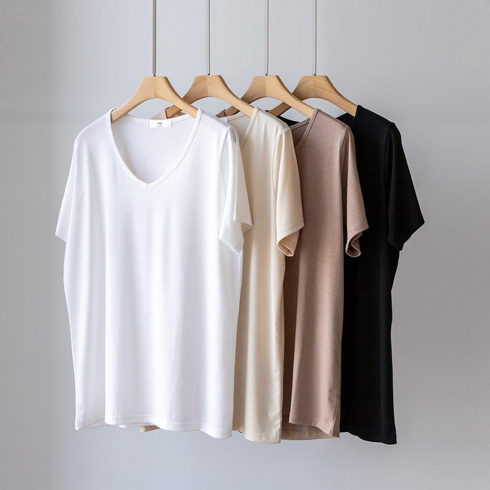 [코코세븐] 1+1 브이넥 찰랑 스판 반팔 티셔츠 66 77 88 99 100