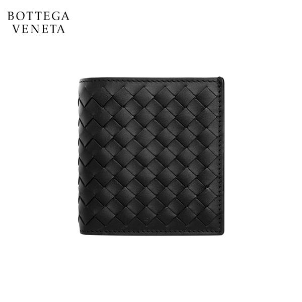 명품 보테가베네타 BOTTEGA VENETA 222338 V4651 1000 네로 인트레치아토 VN 스몰 폴더 지갑