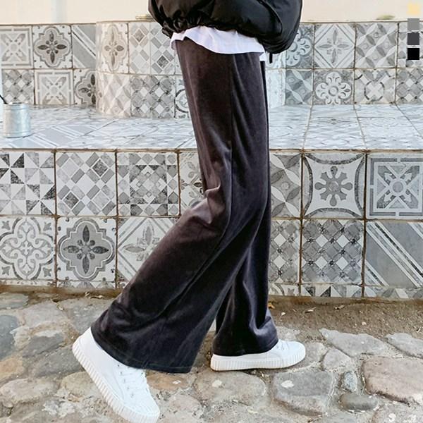 티데일리 골덴 벨벳 와이드 밴딩 팬츠 여성용 스판 트레이닝 겨울 바지