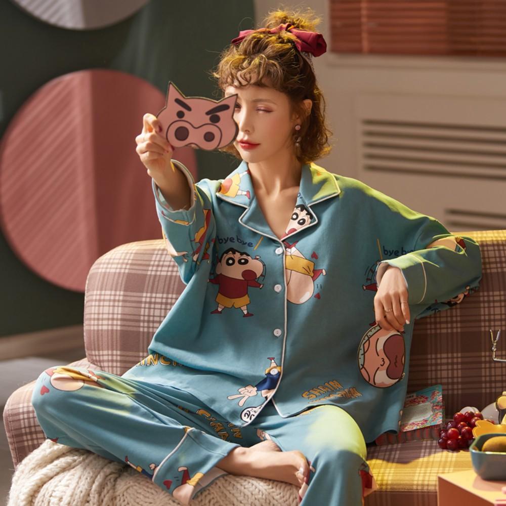 짱구 잠옷 파자마 파티 청소년 홈웨어 예쁜 여자 면 바지 세트 배색 룩 남극 순면 잠옷