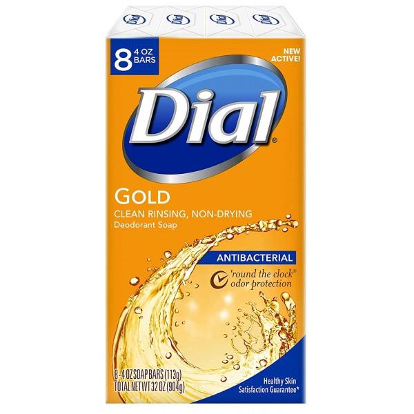 Dial 항균 바 비누 금 4 온스 (8 팩) 바, 단일상품