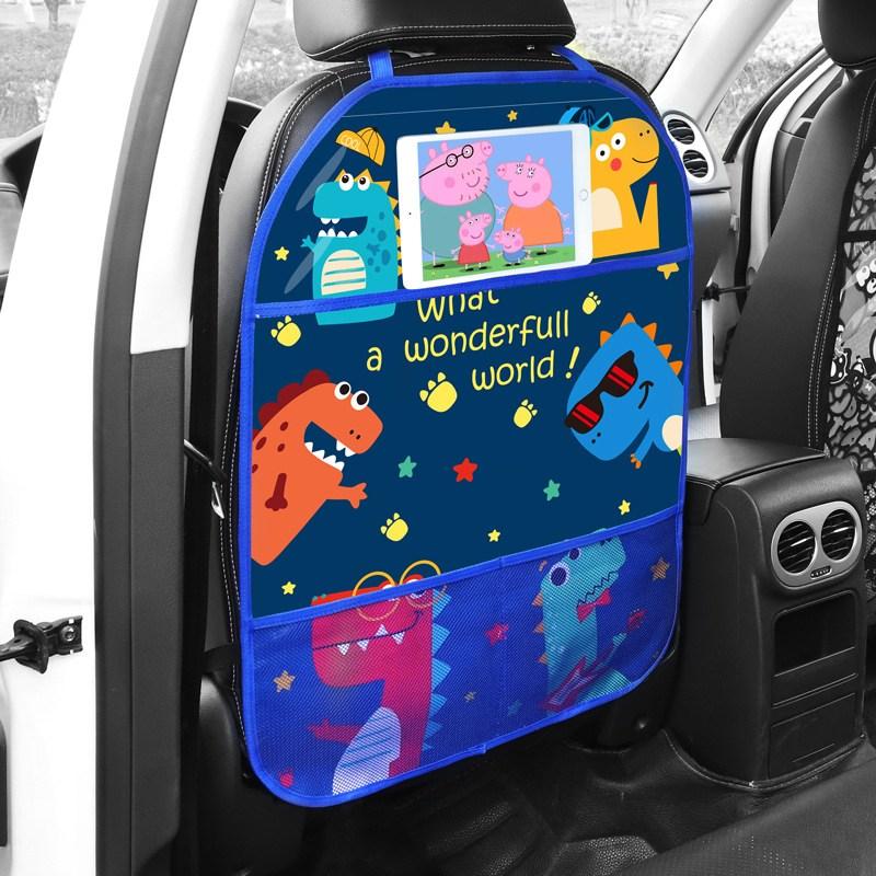 자동차시트보호 킥매트 포켓형 차량 시트 보호 아동 캐릭터, 공룡 밴드
