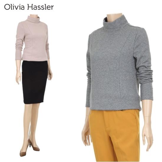 올리비아하슬러 겨울상품 올리비아하슬러 넥 라인 포인트 하프넥 티셔츠 OH7WTS902