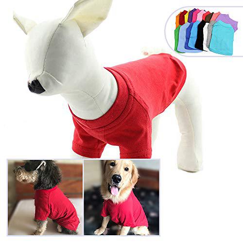 2018 애완 동물 의류 중형 중형견을위한 개 옷 비어있는 티셔츠 티셔츠 100 % 코튼 개 티즈 클래식 (XXXXL Red) 2018 Pet Clothing Dog Clothe, 1set