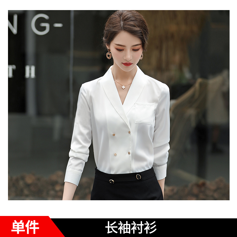 쉬폰블라우스 2020년정품 봄패션 여성와인레드 셔츠 긴팔 v견직물 이너셔츠 캐주얼 이너 상의