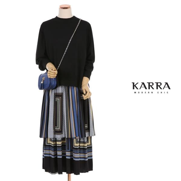 카라 KARRA 나염원피스니트투피스세트_KB0FOP388C