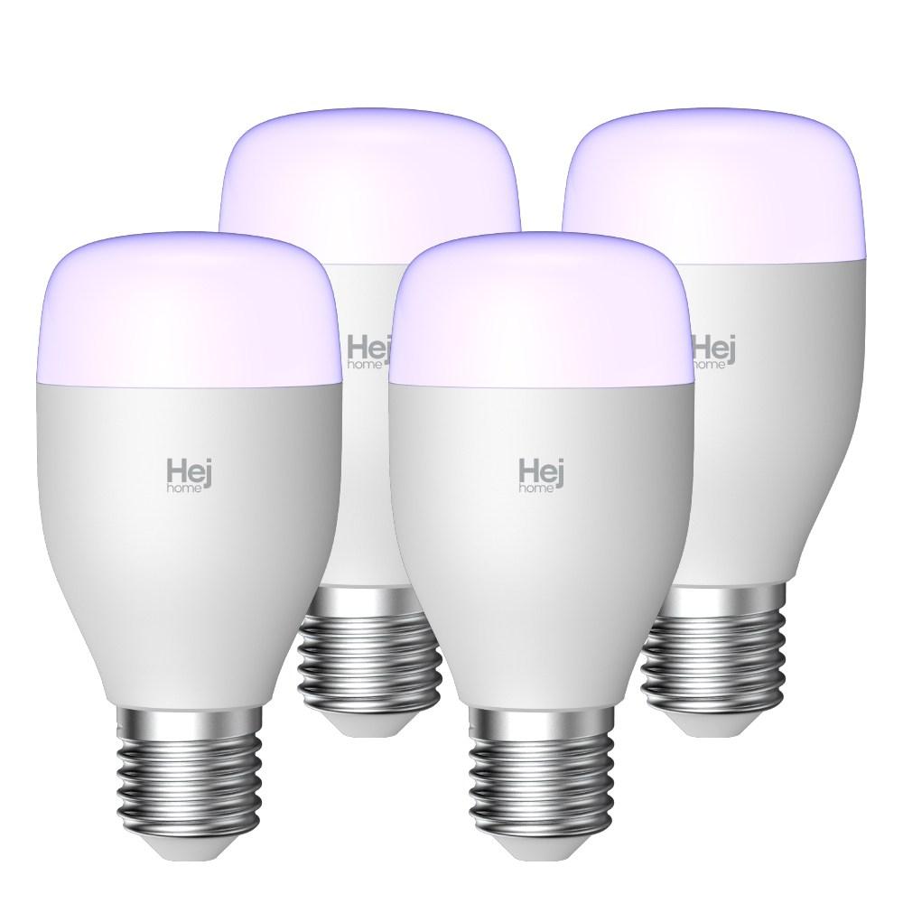 헤이홈 IoT 스마트LED 전구 밝기 색상 조절 조명 볼전구 E26, 4개, 컬러 (색상조절)