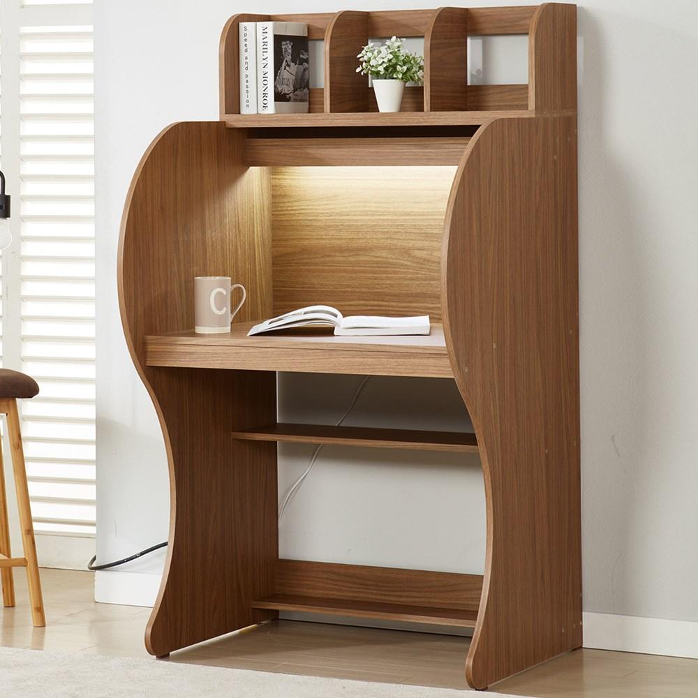 EONC 우등생 독서실책상 책꽂이 + LED등기구포함, 월넛LED