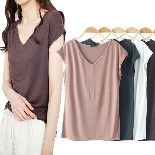 홍공장(당일출고) 여성 여름 브이넥 시원한 모달 티셔츠 반팔