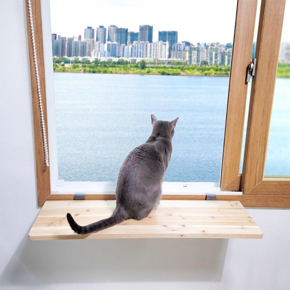 편하개냥 고양이 캣워크 캣워커 창문틀 창틀 창문선반 브라켓 무타공 선반, 조립후발송(80cm x 24cm x 두께 18T)