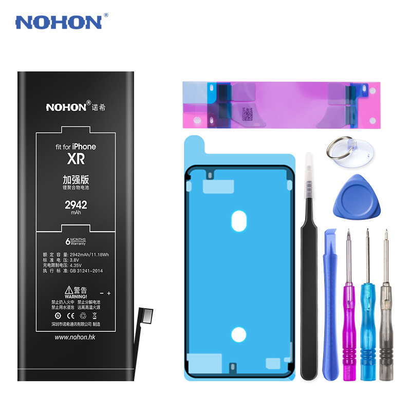 NOHON 노혼 배터리 대 한 iPhone SE 6 6S 7 8 Plus X XR XS Max iPhone7 iPhone6S 플러스 교체 Battery Hot Deal, For iPhone XR 2942mAh