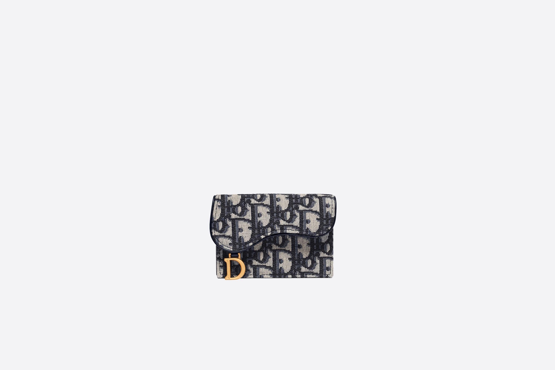 디올 S5611CTZQ M928 오블리크 새들 트리폴드 반지갑