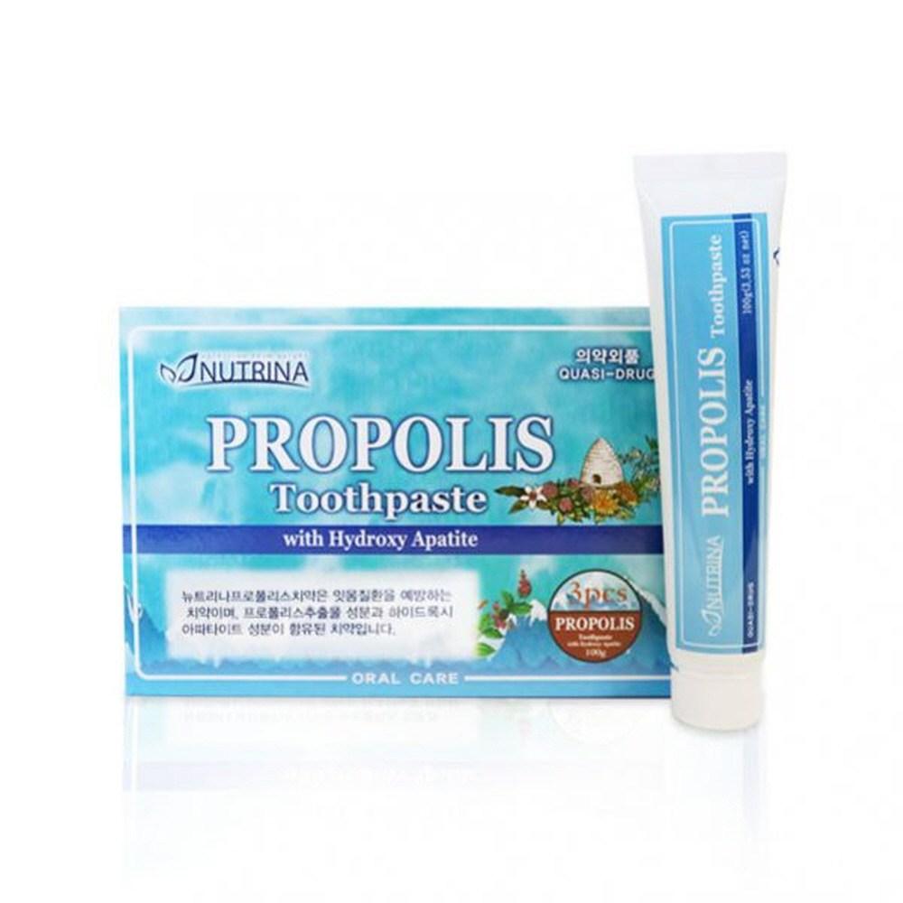 뉴트리나 프로폴리스 치약 하이드록시 아파타이트 3개 온가족 치아건강 프로폴리스추출물 구취 치태 향균작용, 100g