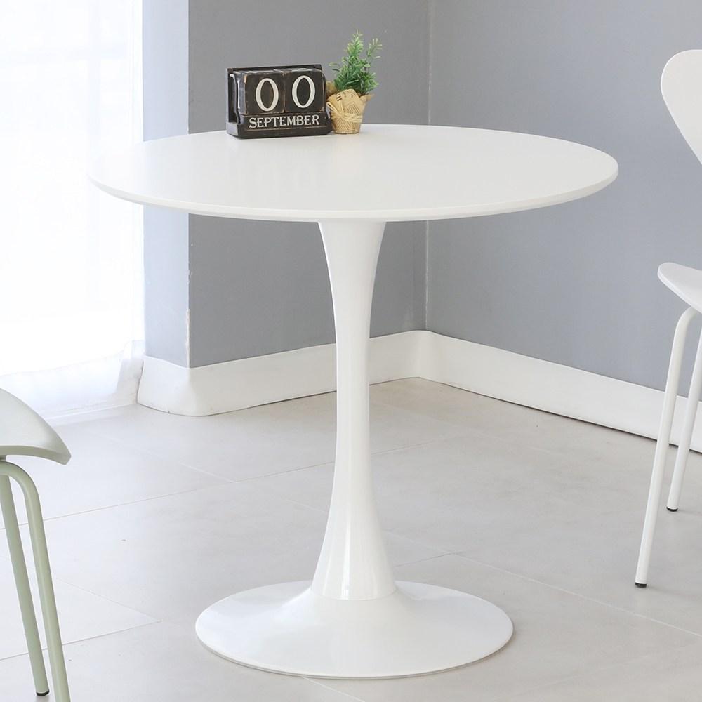 THEJOA 유니 화이트 원형 식탁 테이블 600 800 1000 사이즈 2인용 4인용, 유니테이블 800원형