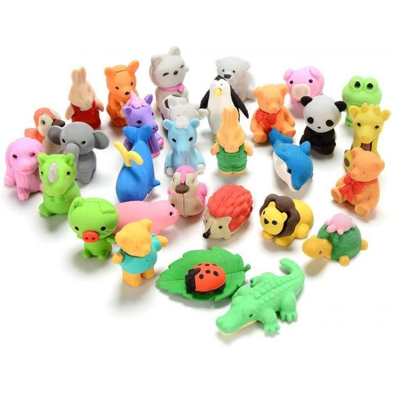 GoaPly 30 개 미니 동물 지우개 귀여운 지우개 세트 일본어 퍼즐 지우개 참신 지우개 장난감 소년 소녀, 단일상품