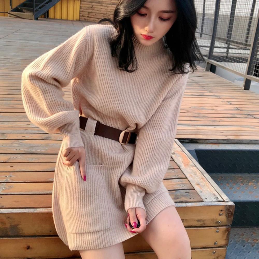 펜트하우스 이지아 옷 스웨터 루즈핏 허리 벨트 로브 니트 원피스 가을 겨울 블라우스 수지