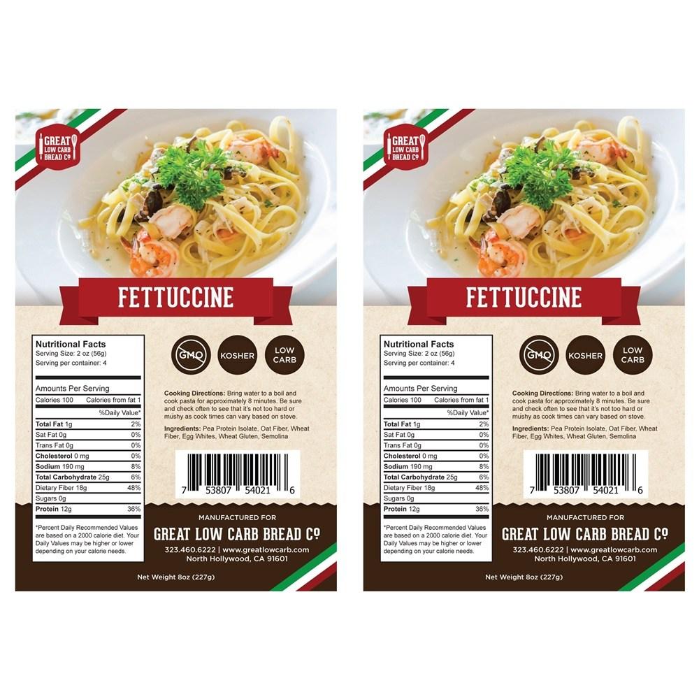 Great Low Carb Bread Fettuccine Pasta 페투치니 파스타 면 8oz(227g) 2팩, 단일상품