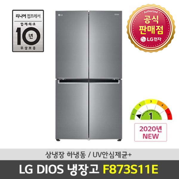 LG전자 LG 디오스 상냉장 하냉동 4도어냉장고 F873S11E