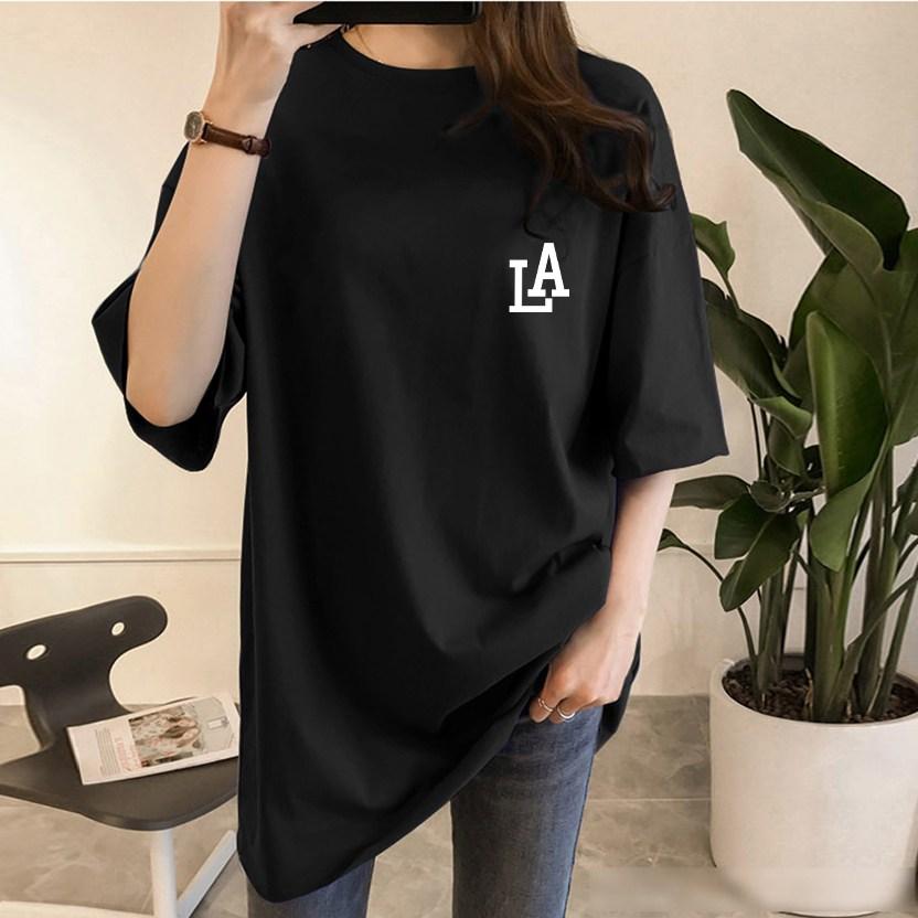 스타일아유 여성용 LA 레이어드 반팔 롱 티셔츠 노마진 정품원단 자체생산