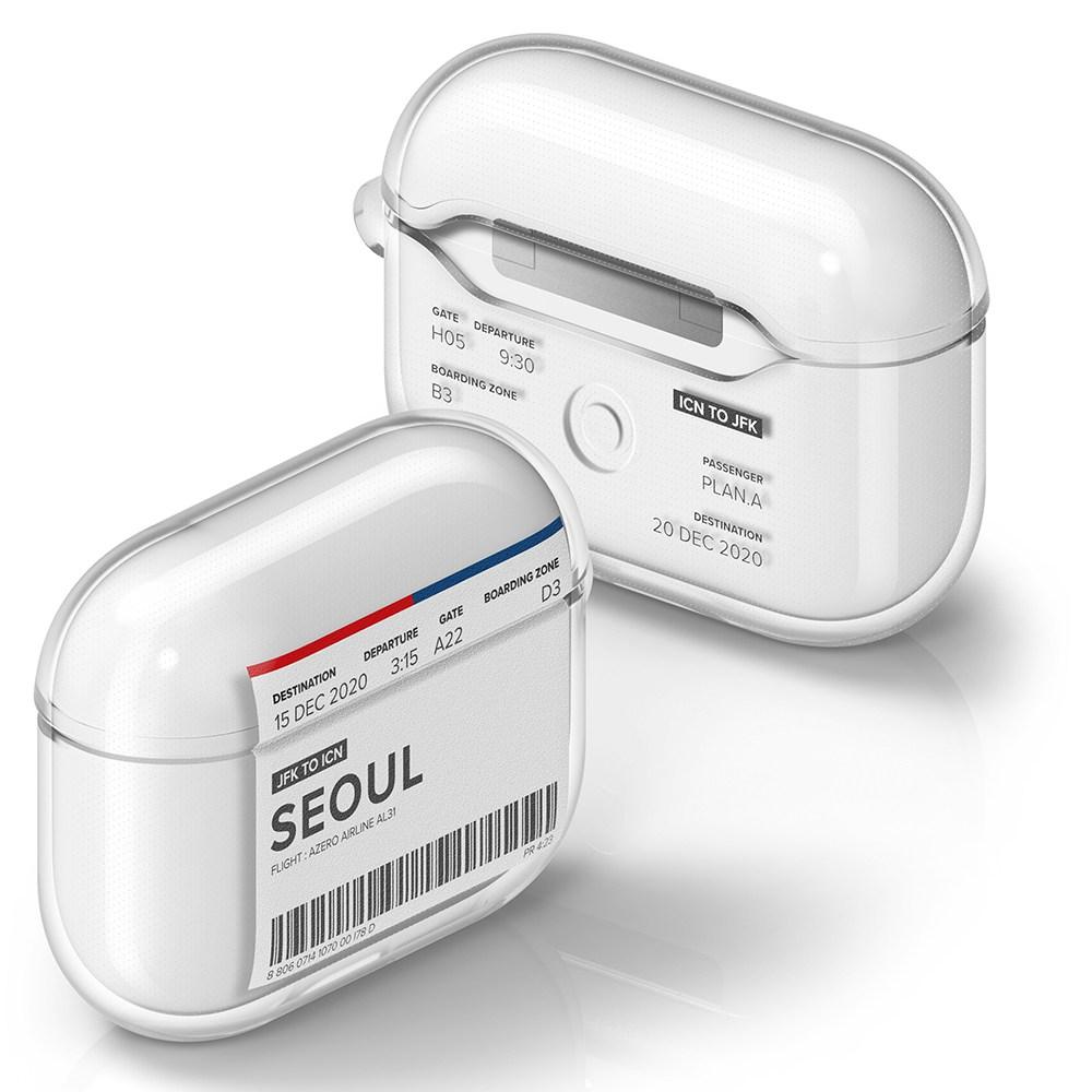 플래나 에어플레인 티켓 시리즈 에어팟 프로 TPU 투명 케이스, 1. 서울, 그래픽