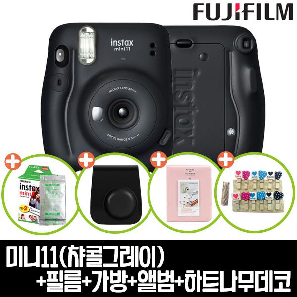 인스탁스 미니11카메라+전용가방+미니1p(랜덤)+하드앨범+하트나무데코 즉석카메라, 1개, 챠콜그레이