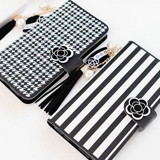 모여라몰 갤럭시S4 블랙 플라워 다이어리 케이스 E300 휴대폰 다이어리형