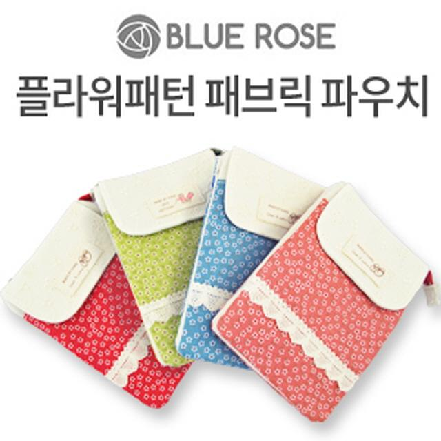 (BLUE ROSE/블루로즈)스마트폰 플라워패턴 패브릭 파우치, 그린, 단일옵션