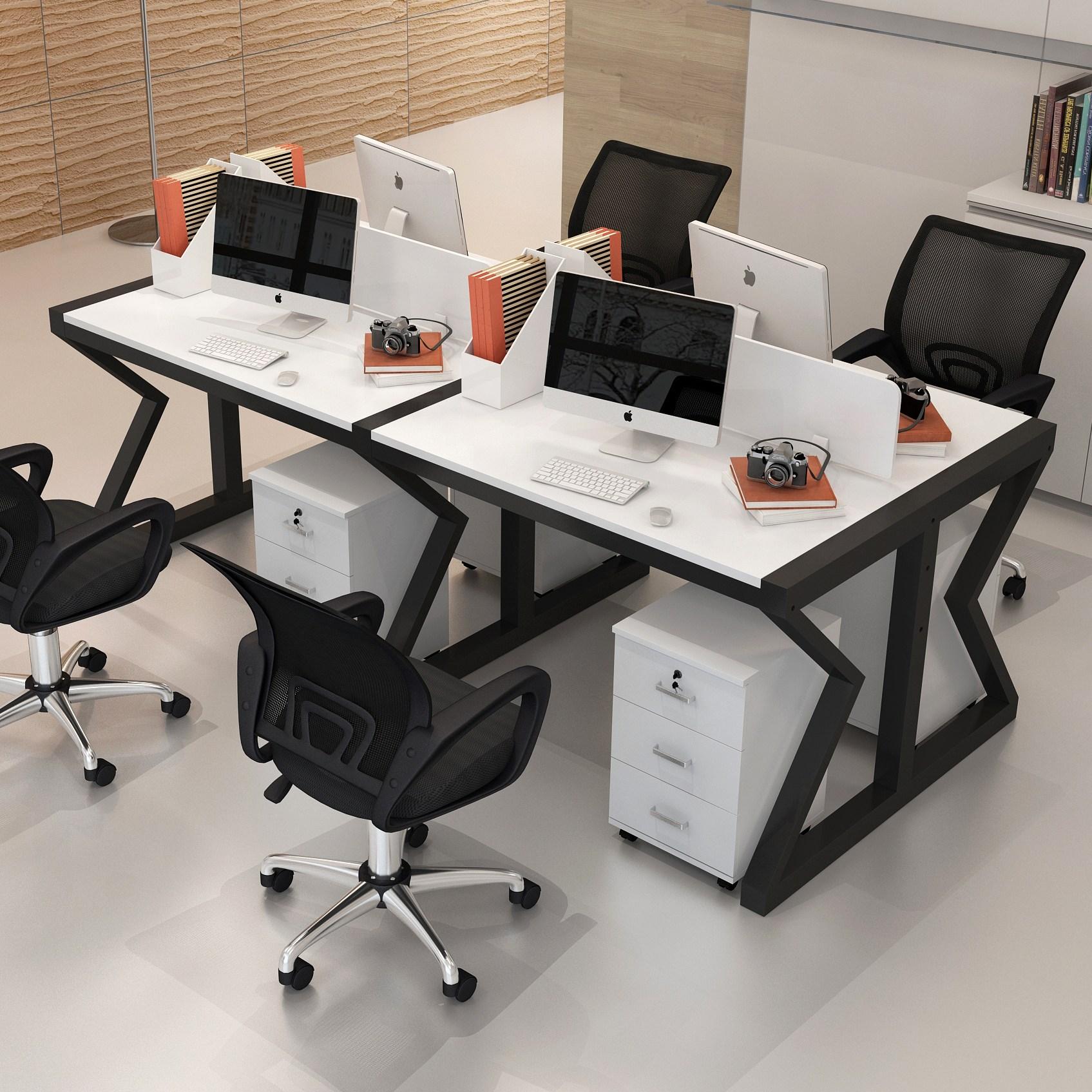 사무용의자 사무실테이블 의자조합 직원 작업공간 사륙 인용, T20-4인용 상자 함유 의자(컬러)