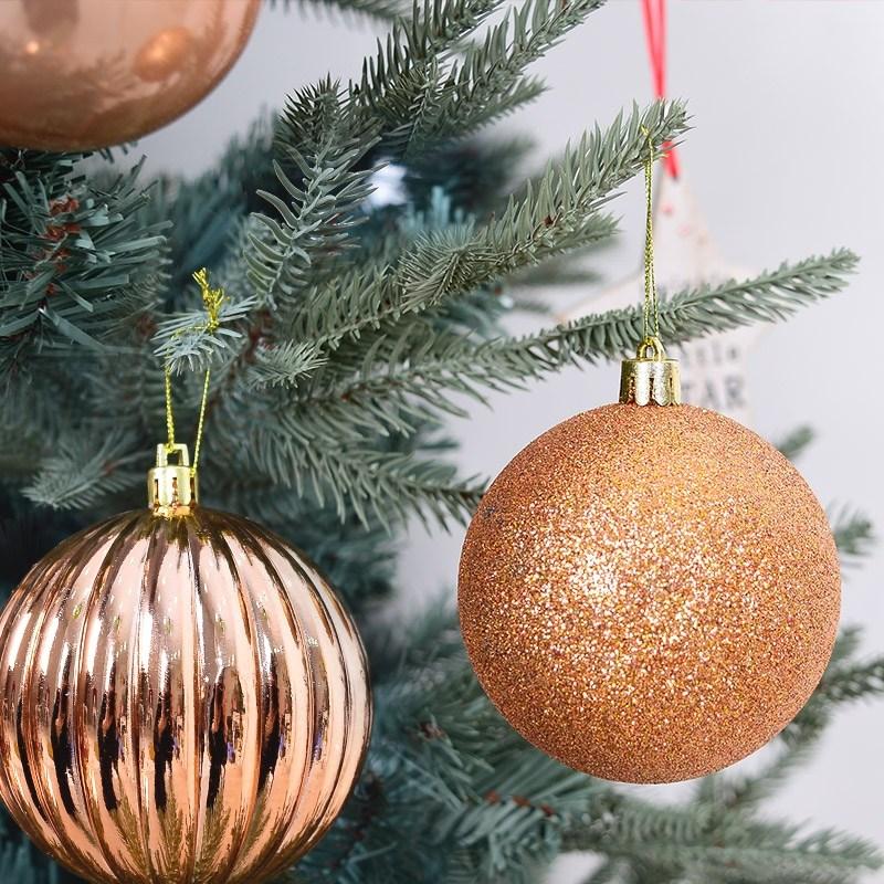 크리스마스 트리장식 오너먼트, 혼합볼 8cm 5입 로즈골드