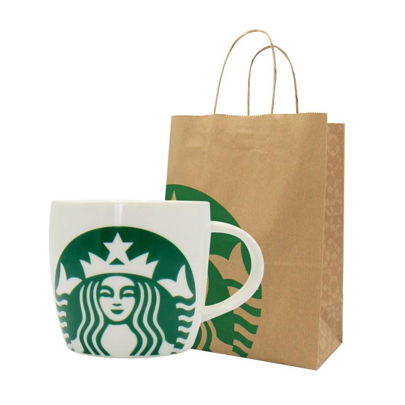 스타벅스 아이코닉 화이트그린 머그컵, 1개, 아이코닉 화이트그린 머그컵+쇼핑백