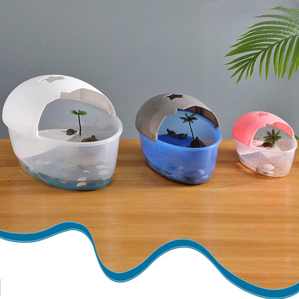거북이 키우기 거북이어항 수족관 세트 집 어항 쉬운 청소, 블루(소품세트)