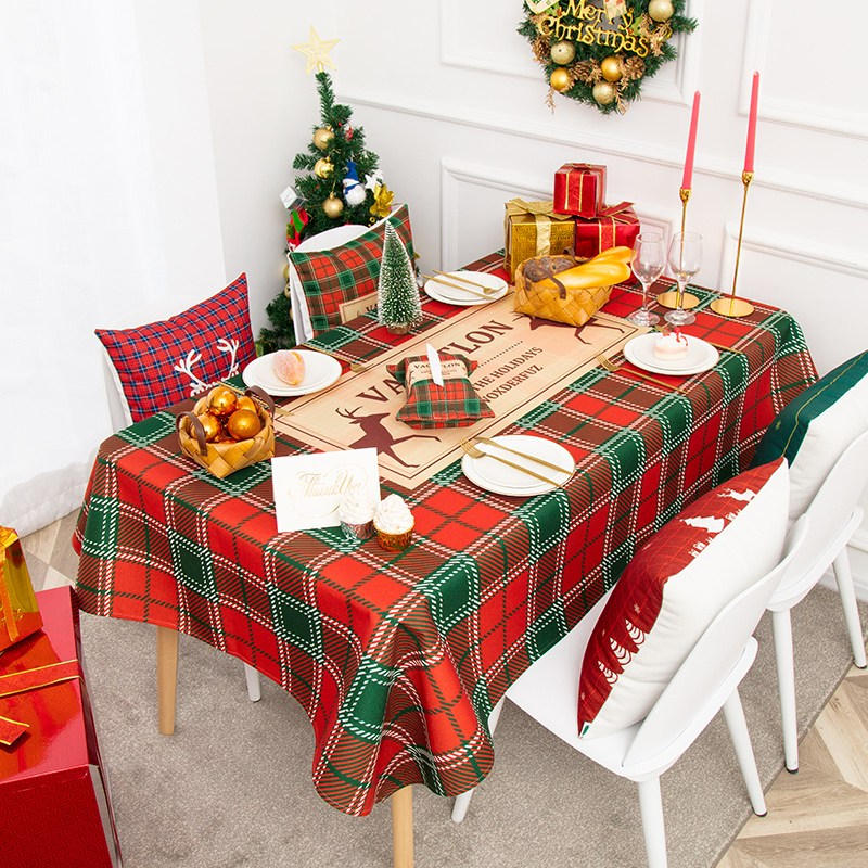해외 크리스마스 식탁보 테이블보생일잔치 크리스마스 인테리어 식탁보 방수포 두꺼운 면마 테이블보 턱시도-10345, 01.85X85CM(스프레이), 옵션01